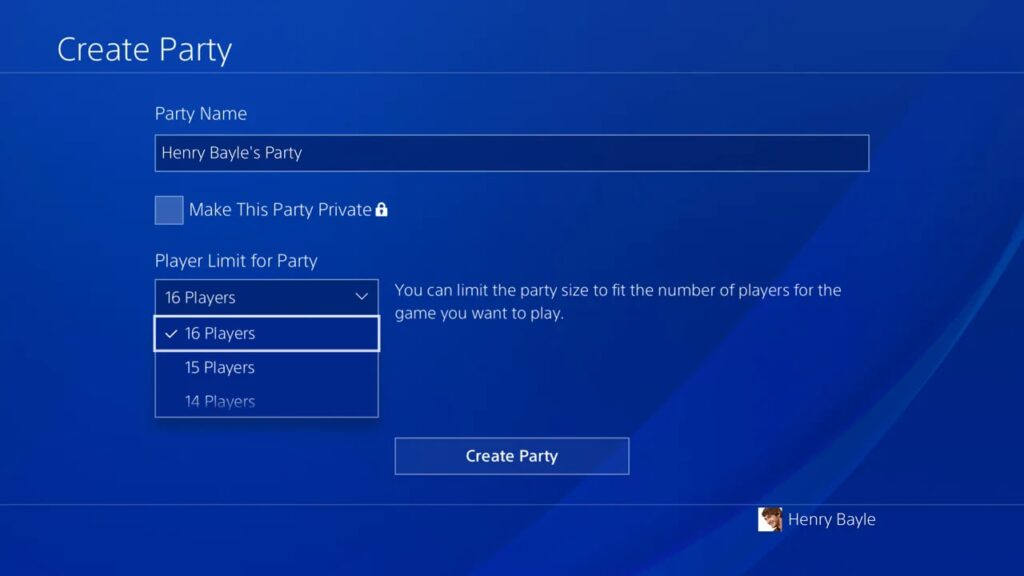 Sony party chat
